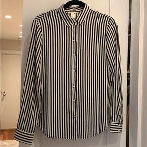 H&M button down shirt black and white striped